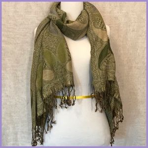 Accessories - Green Printed Pashmina Wrap Scarf